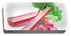 Portable Battery Charger featuring the painting Rhubarb Stalks by Irina Sztukowski