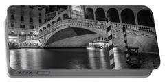 Rialto Bridge Black And White  Portable Battery Charger