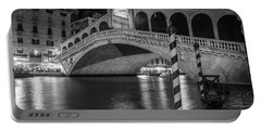 Rialto Bridge Black And White  Portable Battery Charger