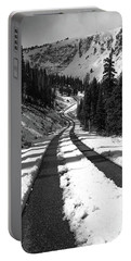 Ribbon To The Unknown Monochrome Art By Kaylyn Franks Portable Battery Charger