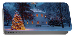 Richmond Vermont Round Church At Christmas Portable Battery Charger