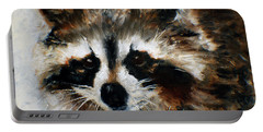 Portable Battery Charger featuring the painting Rickey Raccoon by Barbie Batson