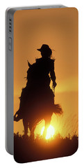 Riding Cowgirl Sunset Portable Battery Charger