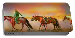 Portable Battery Charger featuring the digital art Riding The Surf by Kari Nanstad
