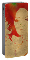 Rihanna Watercolor Portrait Portable Battery Charger by Design Turnpike