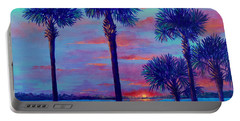 Portable Battery Charger featuring the painting Ringling Bridge Sunset by Lou Ann Bagnall