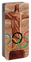 Rio 2016 Christ The Redeemer Statue Artwork Portable Battery Charger by Georgeta Blanaru