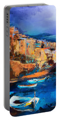 Portable Battery Charger featuring the painting Riomaggiore - Cinque Terre by Elise Palmigiani