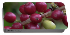 Portable Battery Charger featuring the photograph Ripe Kona Coffee Cherries by Susan Rissi Tregoning