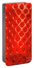Ripe Red Fresh Strawberry Texture And Detail Portable Battery Charger