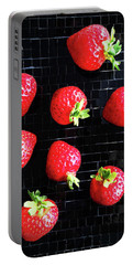 Ripe Strawberries On Back Plate Portable Battery Charger