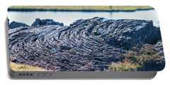 Rippled Lava At The Mid-atlantic Rise In Thingvellir, Iceland Portable Battery Charger by Allan Levin