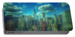 Rise And Shine - Chrysler Building New York Portable Battery Charger by Miriam Danar
