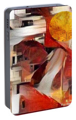 Portable Battery Charger featuring the mixed media Rise by Ray Tapajna