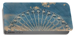 Rise Up Ferris Wheel In The Clouds Portable Battery Charger by Terry DeLuco