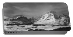 Rising Wolf Mountain- Winter - Black And White Portable Battery Charger