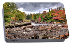 Portable Battery Charger featuring the photograph River Debris At Indian Rapids by David Patterson