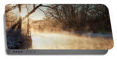 River Fog At Sunrise Portable Battery Charger