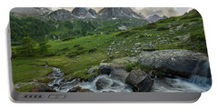 River In The French Alps Portable Battery Charger