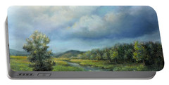 Portable Battery Charger featuring the painting River Landscape Spring After The Rain by Katalin Luczay