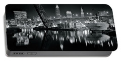 Portable Battery Charger featuring the photograph River Lights In Black And White by Frozen in Time Fine Art Photography