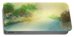 River Morning Portable Battery Charger by Frank Bright