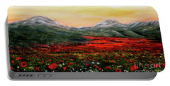 Portable Battery Charger featuring the painting River Of Poppies by Judy Kirouac