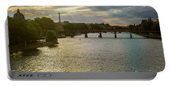 River Seine At Dusk Portable Battery Charger