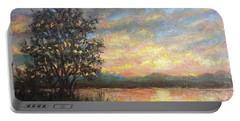 River Sundown Portable Battery Charger by Kathleen McDermott