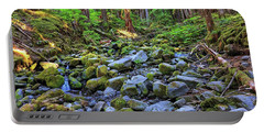 Riverbed Full Of Mossy Stones With Small Cascade Portable Battery Charger