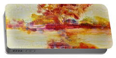 Riverscape In Red Portable Battery Charger by Carolyn Rosenberger