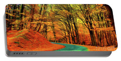 Road Leading Through The Autumn Woods Portable Battery Charger