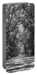 Road To Angel Oak Grayscale Portable Battery Charger by Jennifer White