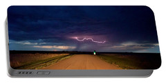 Road Under The Storm Portable Battery Charger by Ed Sweeney