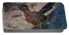 Portable Battery Charger featuring the painting Roadrunner Making Nest by Penny Lisowski
