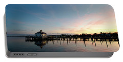 Roanoke Marshes Lighthouse At Dusk Portable Battery Charger by David Sutton