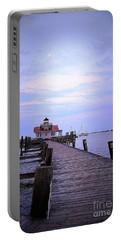 Full Moon Over Roanoke Marshes Lighthouse Portable Battery Charger