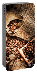 Roasted Coffee Beans In Drawer And Bags On Table Portable Battery Charger