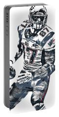 Rob Gronkowski New England Patriots Pixel Art 2 Portable Battery Charger by Joe Hamilton