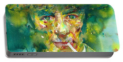 Portable Battery Charger featuring the painting Robert Oppenheimer - Watercolor Portrait.2 by Fabrizio Cassetta