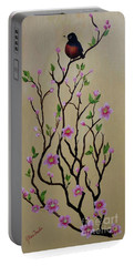 Robin And Spring Blossoms Portable Battery Charger