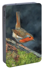 Portable Battery Charger featuring the painting Robin by David Stribbling