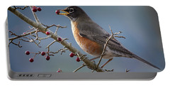 Robin Eating Berries Portable Battery Charger by Inge Riis McDonald