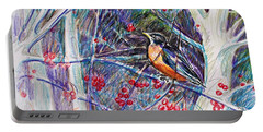 Robin In The Crab Apple Trees Sketch Portable Battery Charger by Joy Nichols