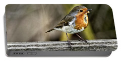 Portable Battery Charger featuring the photograph Robin On Fence by Cliff Norton
