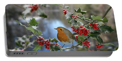 Robin On Holly Branch Portable Battery Charger