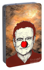 Portable Battery Charger featuring the drawing Robin Williams 2 by Jason Tricktop Matthews