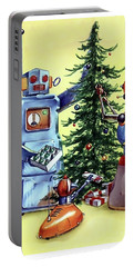 Robot Family Around Christmas Tree Portable Battery Charger