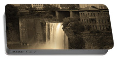 Portable Battery Charger featuring the photograph Rochester, New York - High Falls 2 Sepia by Frank Romeo