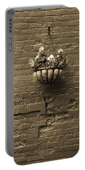 Portable Battery Charger featuring the photograph Rochester, New York - Wall And Flowers Sepia by Frank Romeo
